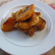 Chain Of Events Breakfast…Toasted Bread Pudding with Simmered Peaches