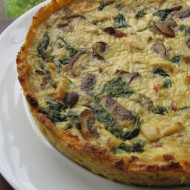 Refrigerator Challenge…Chicken Spinach & Mushroom Quiche with Potato Crust