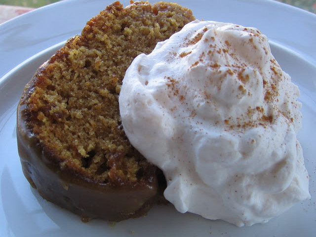 Pumpkin Cake with Buttermilk Glaze and Cinnamon Whipped Cream