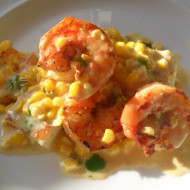 Shrimp & Fresh Corn Sauce with Green Onion Spoon Bread