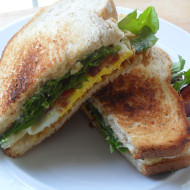 Bacon, Egg, & Arugula Sandwich with Parmesan Mayo and a Pity Party